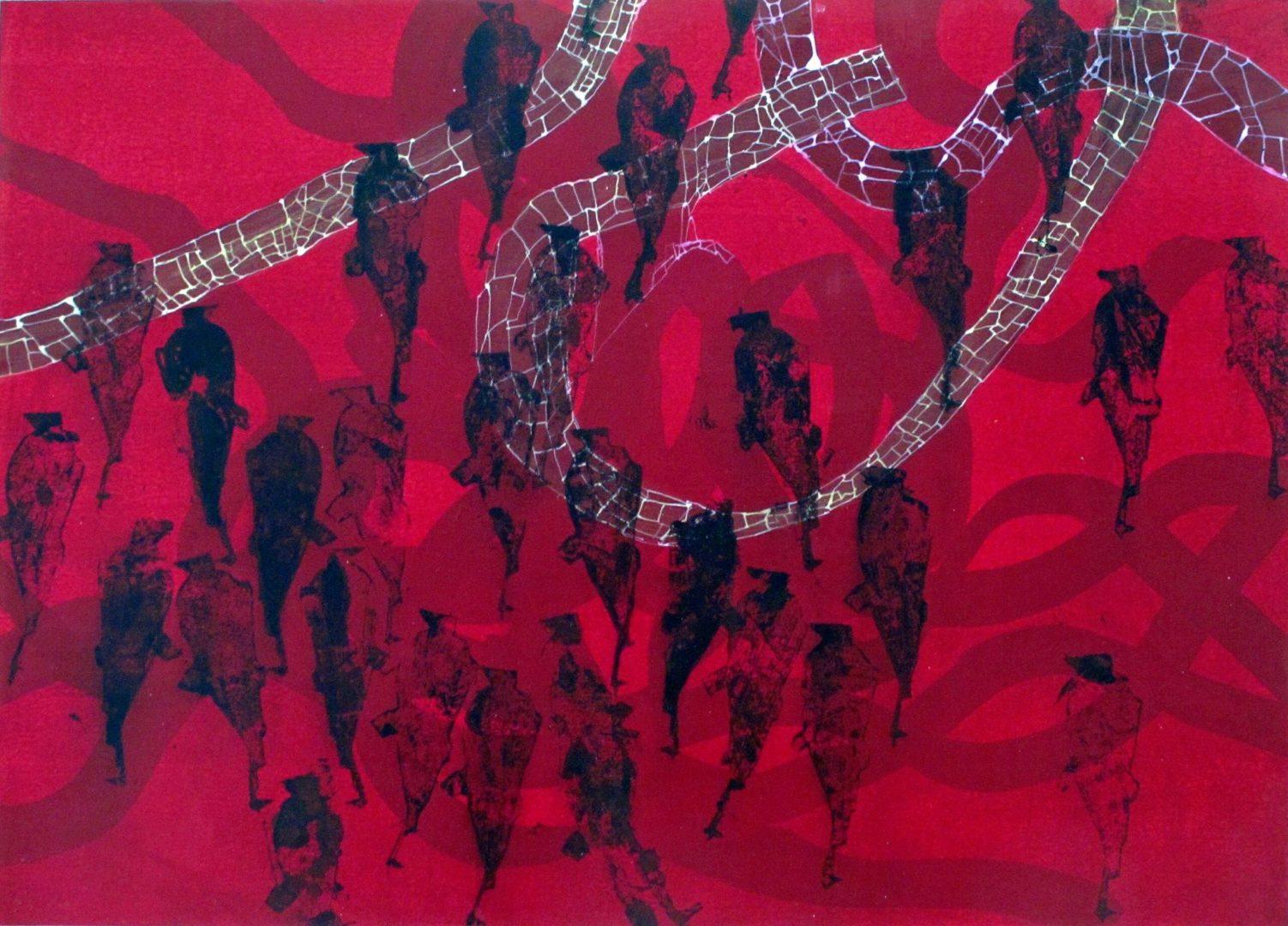 ohne Titel II - Acryl Lasur, Druck auf Papier, 50 x 70 cm, 2015 ©Ursula Heermann-Jensen