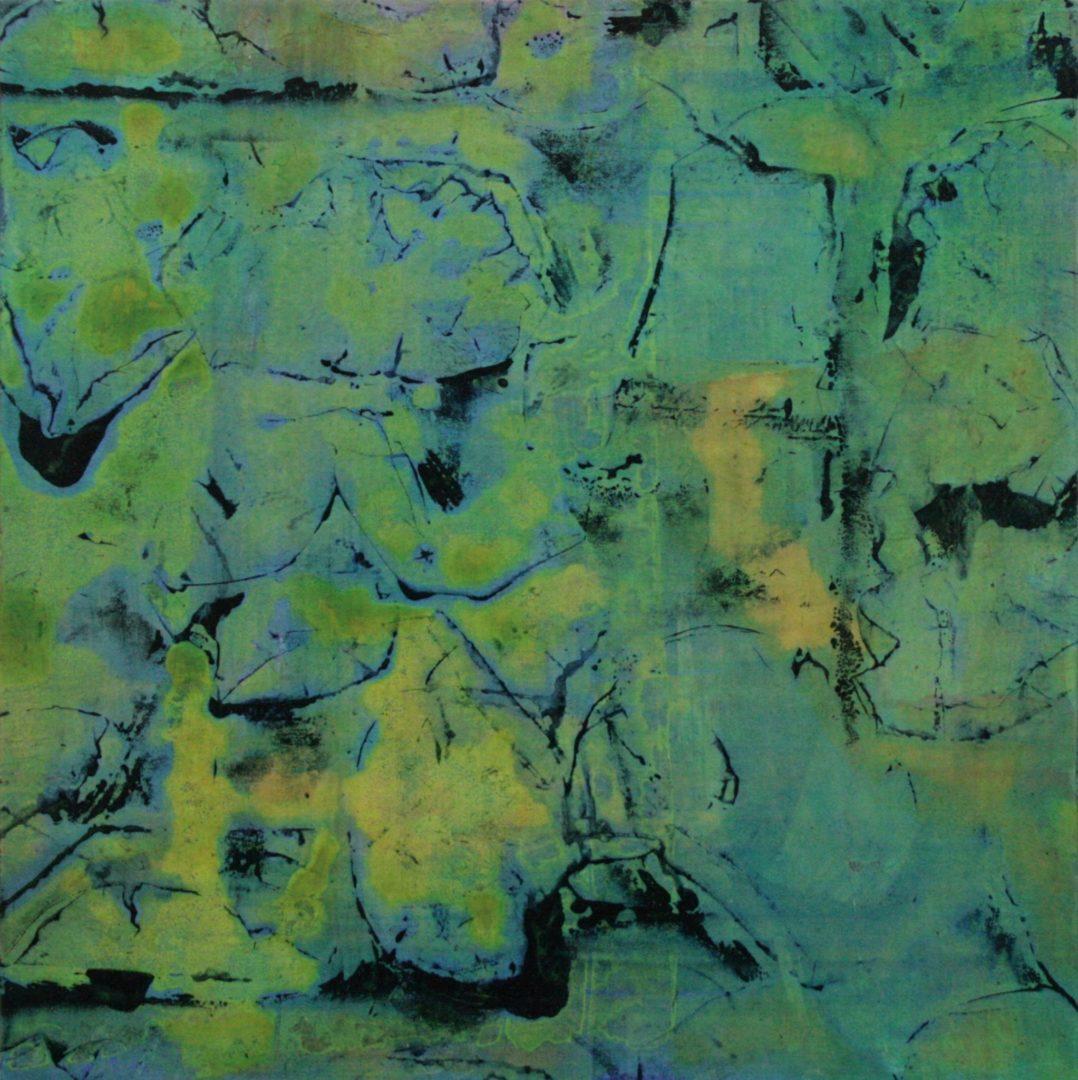 Rosebuds I  - Acryl Lasur, Druck, Papier auf Holz, 20 x 20 cm, 2011 ©Ursula Heermann-Jensen