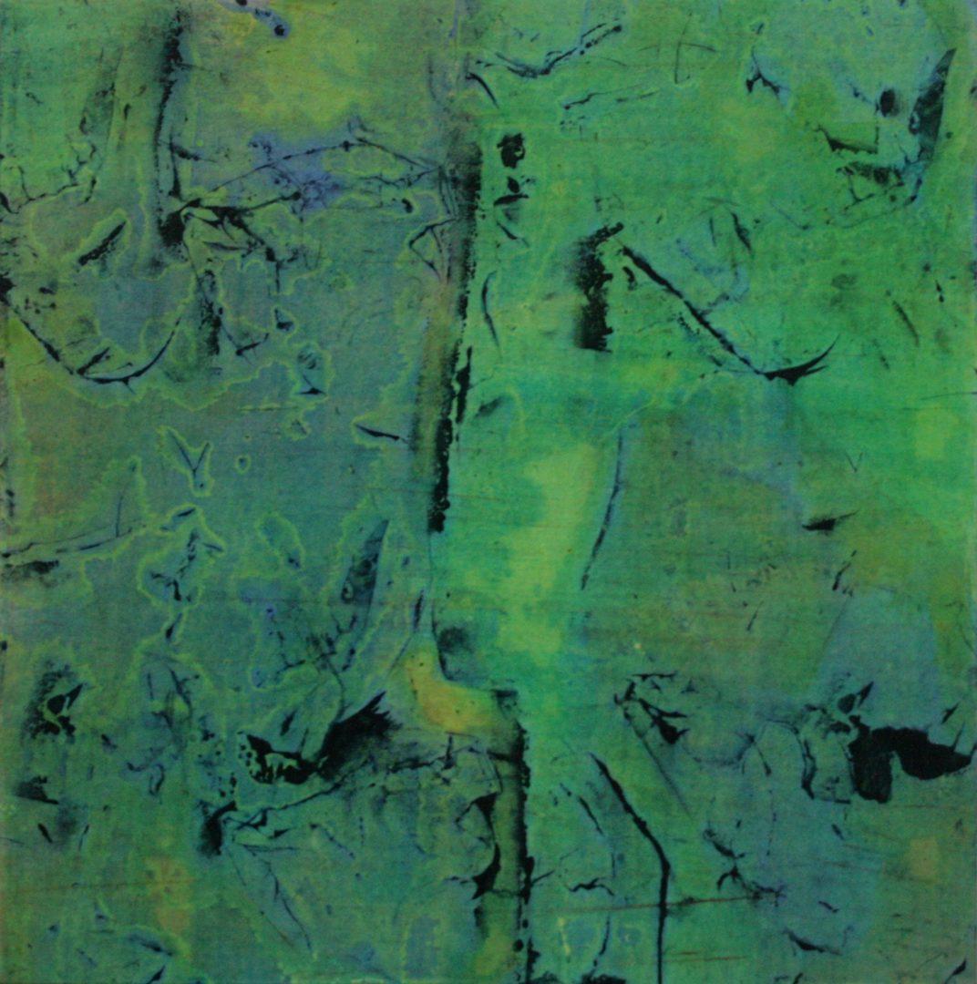 Rosebuds II  - Acryl Lasur, Druck, Papier auf Holz, 20 x 20 cm, 2011 ©Ursula Heermann-Jensen