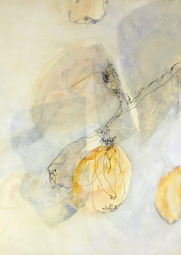 Quitte - Acryl Lasur, Zeichnung auf Papier, 70 x 50 cm, 2018 ©Ursula Heermann-Jensen, im Besitz der Artothek der Stadt Wiesbaden