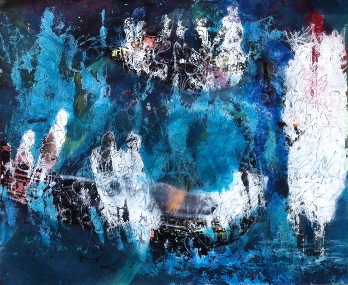 Unterwegs - Acryl Lasur, Holzschnitt auf Papier, 40,5 x 52 cm, 2017 ©Ursula Heermann-Jensen