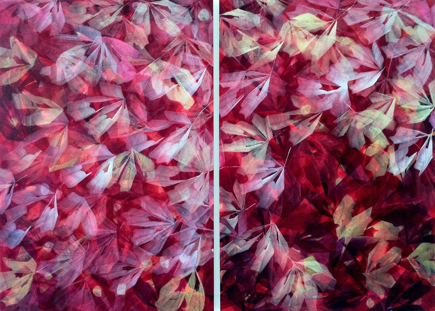Sommer 2011 - Acryl Lasur auf Holz, Diptychon, 2 x 100 x 70 cm, 2011, in Privatbesitz ©Ursula Heermann-Jensen