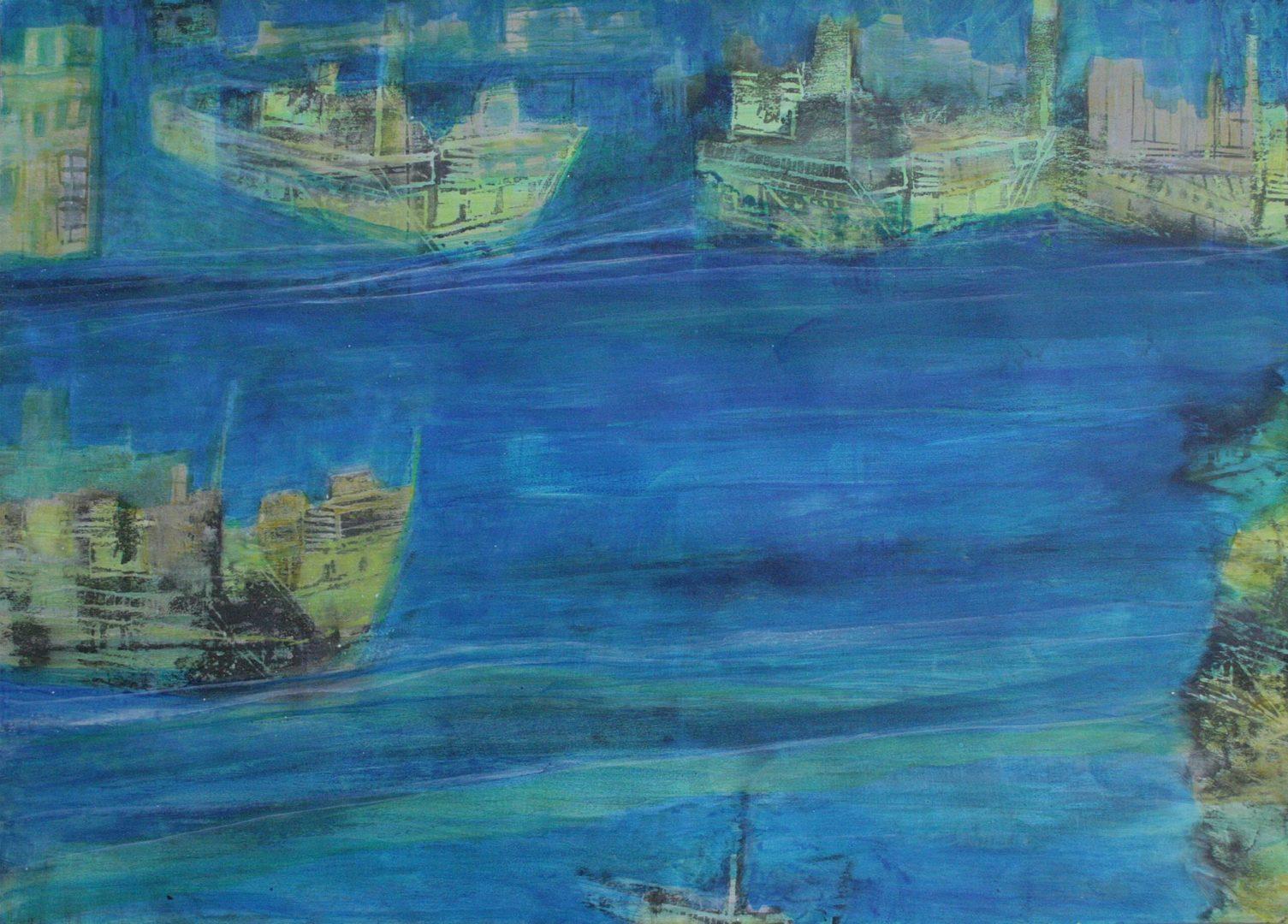 Unterwegs VI - Acryl Lasur, Holzschnitt auf Papier, 50 x 70 cm, 2018 ©Ursula Heermann-Jensen