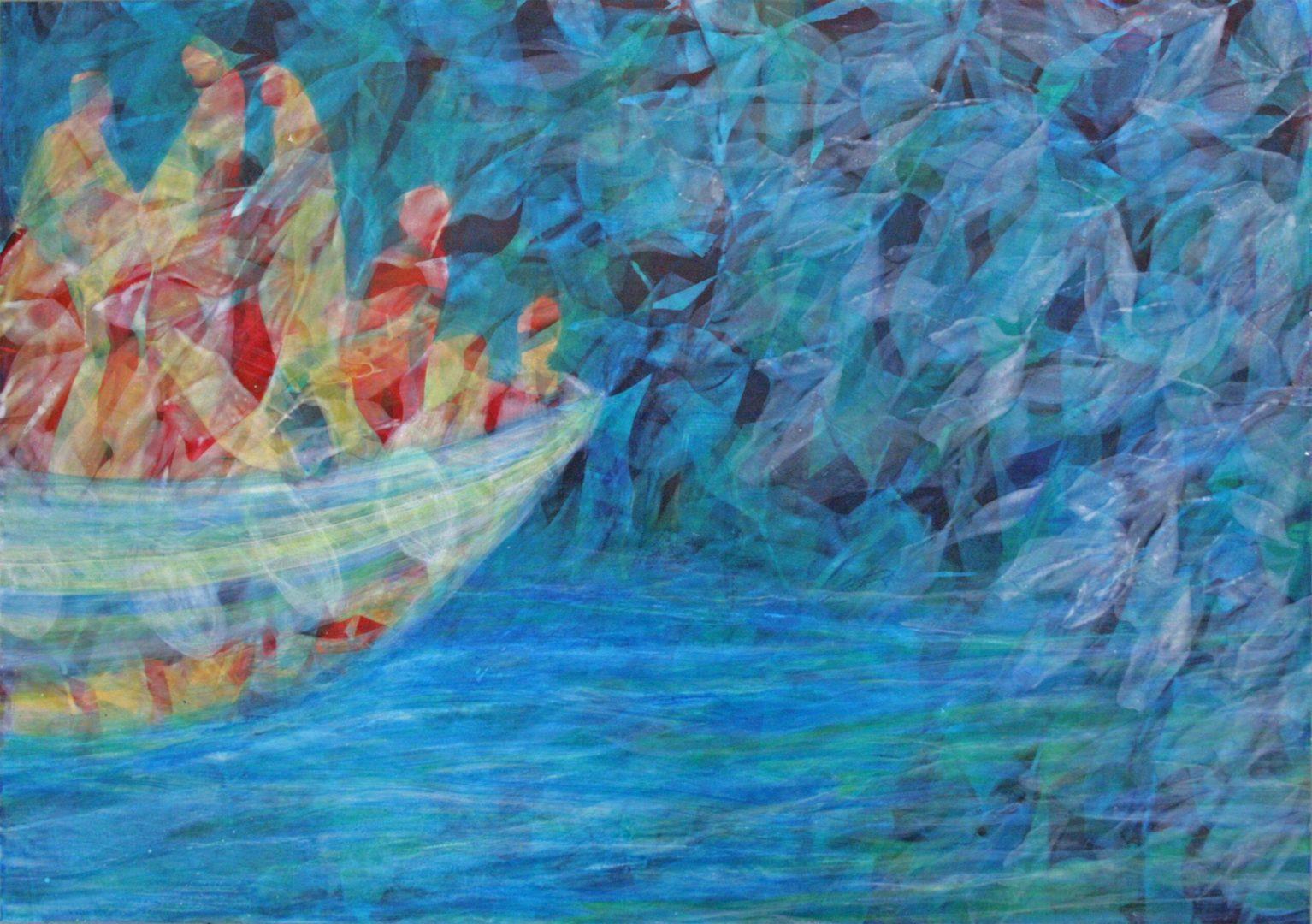 Unterwegs IV - Acryl Lasur auf Alu Dibond, 50 x 70 cm, 2018 ©Ursula Heermann-Jensen