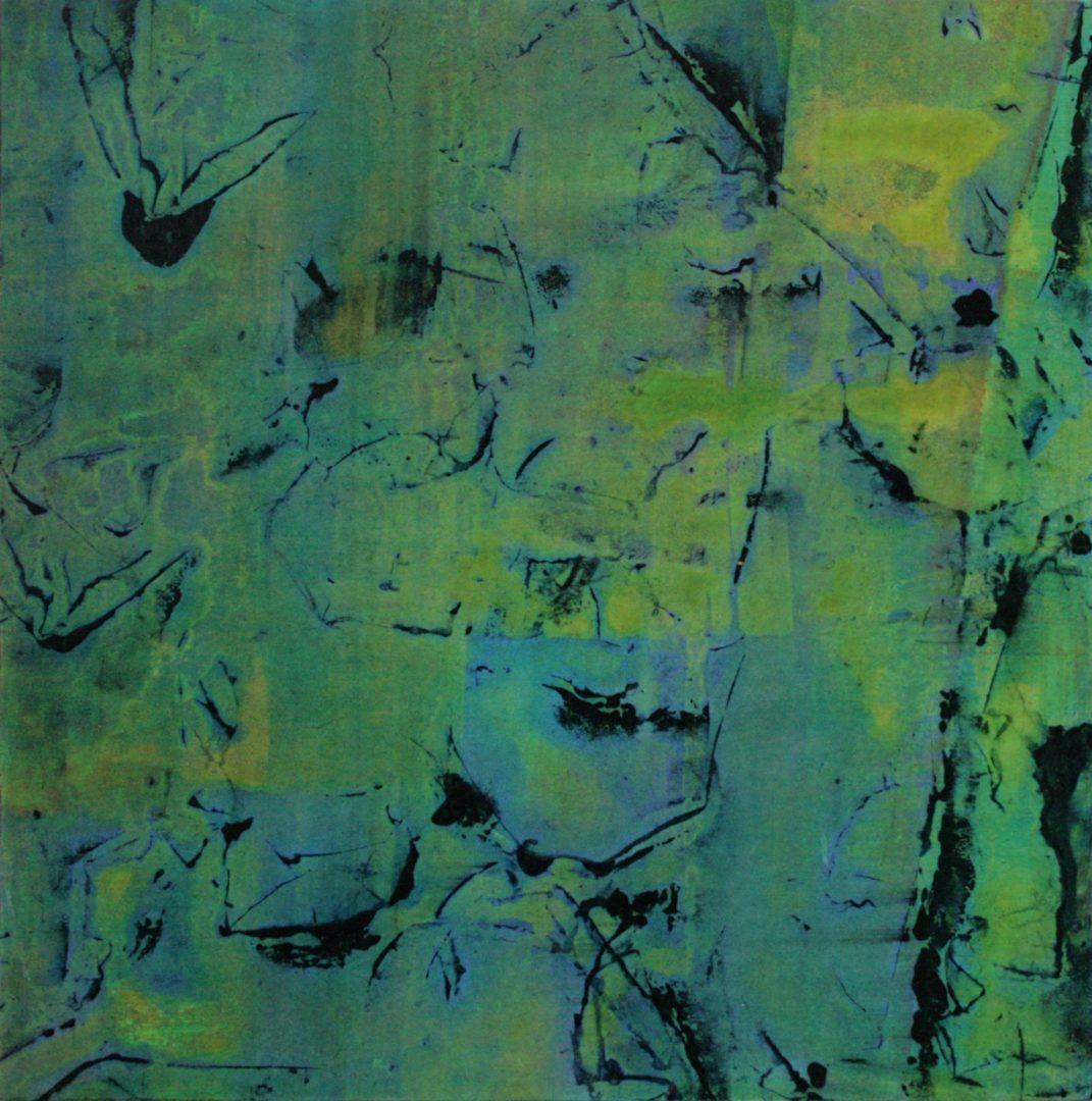 Rosebuds III  - Acryl Lasur, Druck, Papier auf Holz, 20 x 20 cm, 2011 ©Ursula Heermann-Jensen