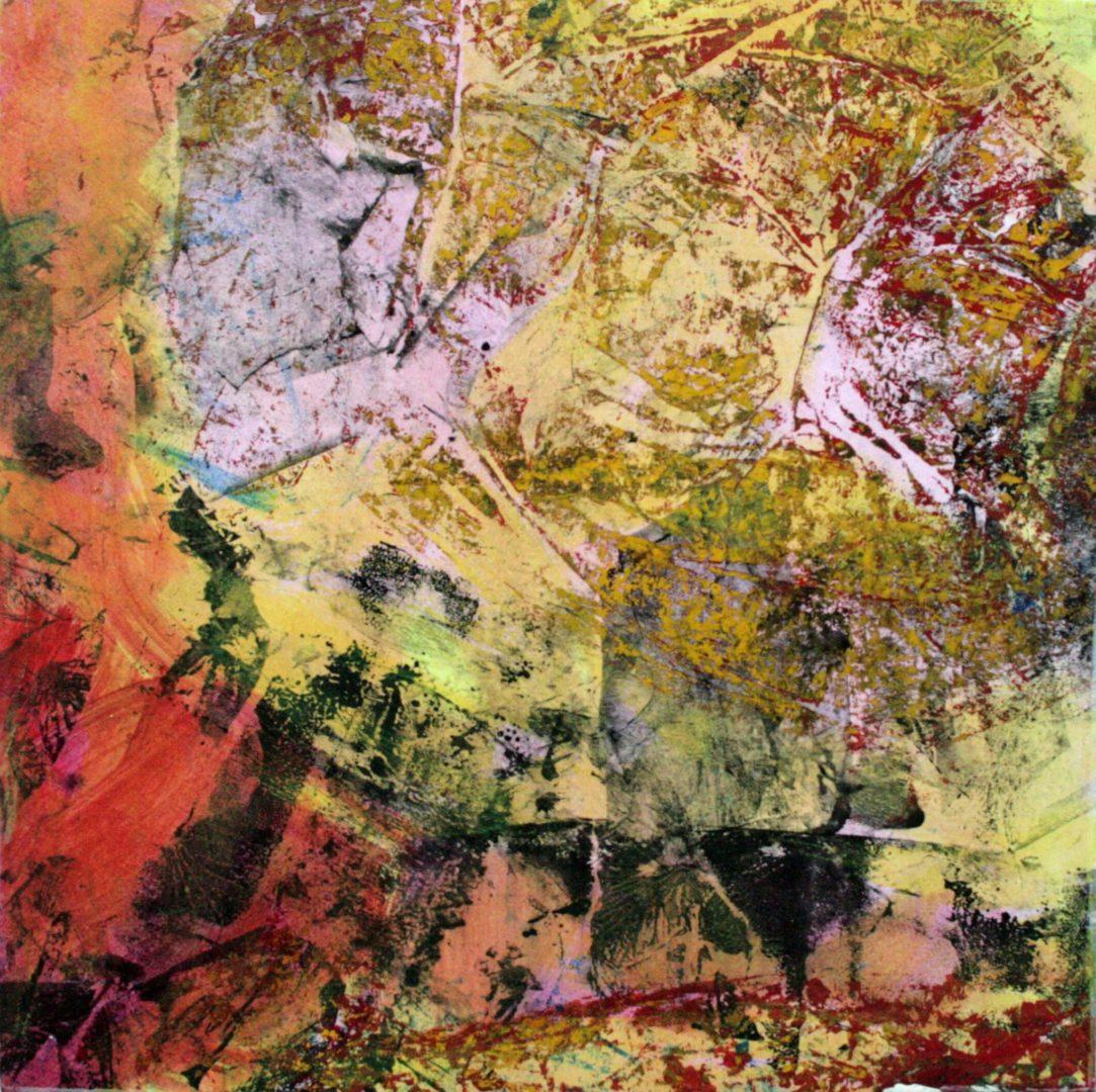 Abstrakt I - Acryl Lasur, Druck, Papier auf Holz, 20 x 20 cm, 2009 ©Ursula Heermann-Jensen