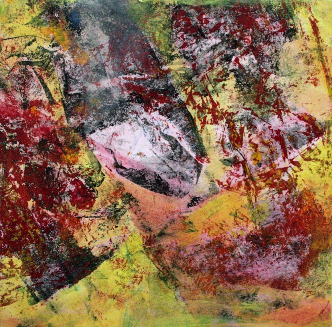 Abstrakt IV - Acryl Lasur, Druck, Papier auf Holz, 20 x 20 cm, 2009 ©Ursula Heermann-Jensen