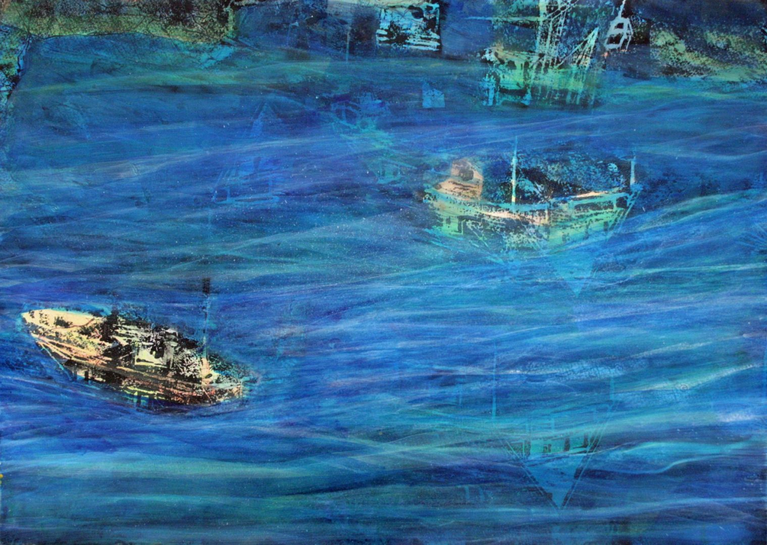 Unterwegs IV - Acryl Lasur, Holzschnitt auf Papier, 50 x 70 cm, 2018 ©Ursula Heermann-Jensen