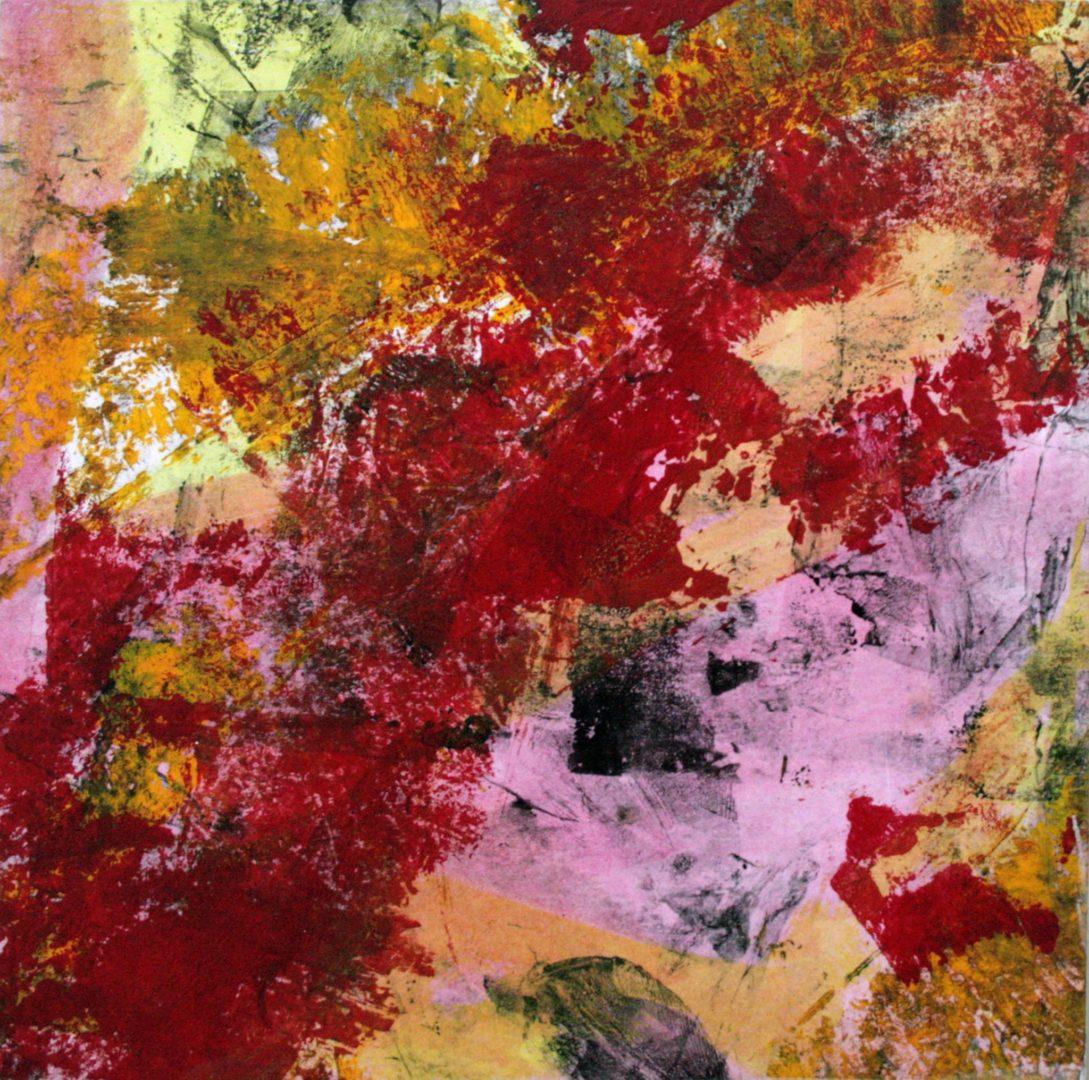 Abstrakt II - Acryl Lasur, Druck, Papier auf Holz, 20 x 20 cm, 2009 ©Ursula Heermann-Jensen