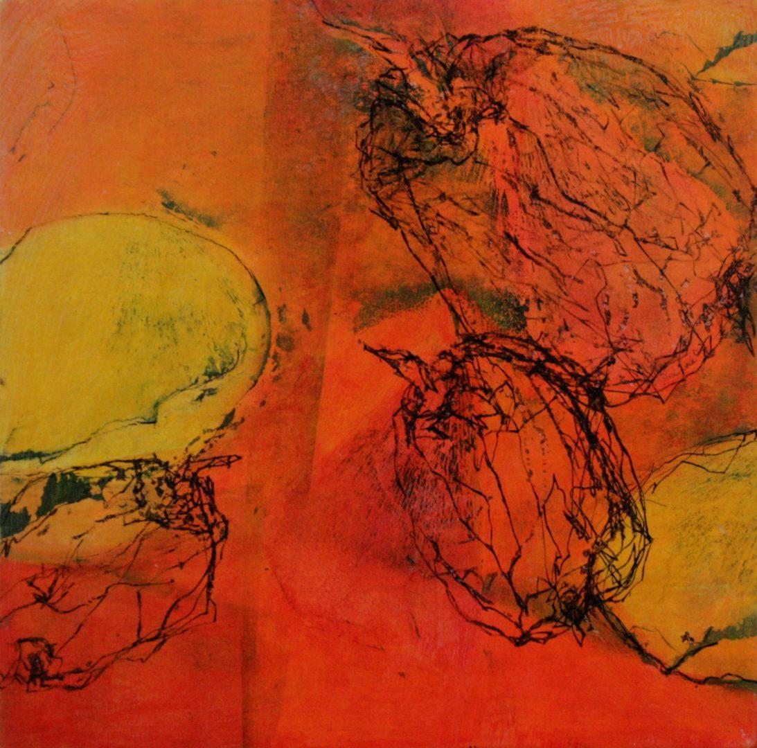 Quitte V - Acryl Lasur, Druck, Zeichnung, Papier auf Holz, 20 x 20 cm, 2018 ©Ursula Heermann-Jensen