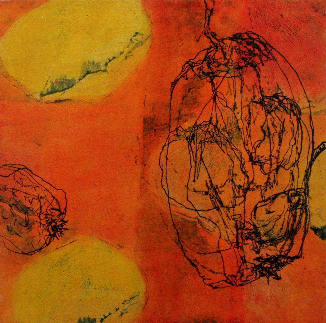 Quitte VI - Acryl Lasur, Druck, Zeichnung, Papier auf Holz, 20 x 20 cm, 2018 ©Ursula Heermann-Jensen